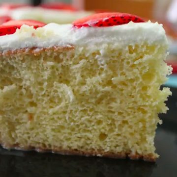 A piece of the Tres Leches Cake served on a plate